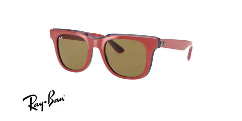 عینک آفتابی کائوچویی ری بن - RayBan RB4368 - عکس از زاویه سه رخ - رنگ قرمز