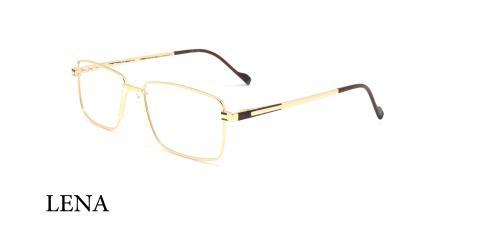 عینک طبی فلزی مستطیلی لنا - LENA LE444 - طلایی مشکی - عکاسی وحدت - زاویه سه رخ