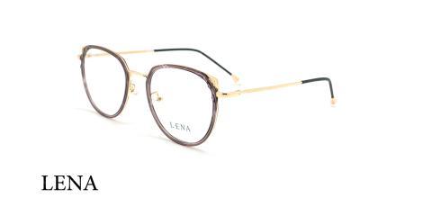 عینک طبی گربه ای لنا - LENA LE480 - طلایی بفش - عکاسی وحدت - زاویه سه رخ