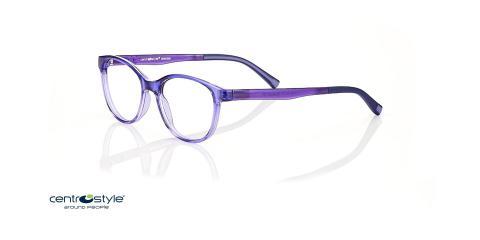 عینک طبی بچگانه سنترواستایل فریم بیضی کائوچویی بنفش رنگ - عکس از زاویه سه رخ