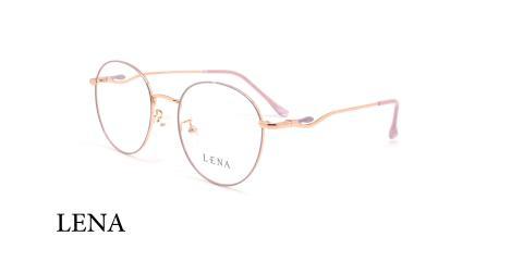 عینک طبی گرد لنا - LENA LE501 - رزگلد - عکاسی وحدت -زاوی سه رخ