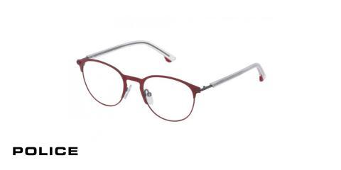 عینک طبی پلیس-POLICE VPL548-اپتیک وحدت-رنگ فریم قرمز-عکس از زاویه سه رخ