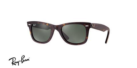 عینک آفتابی مدل ویفر یا ویفرر ری بن - رنگ قهوه ای هاوانا با عدسی های سبز رنگ - زاویه سه رخ