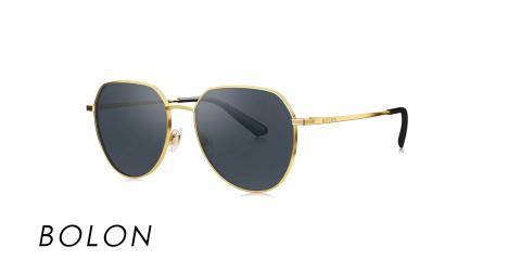 عینک آفتابی بولون - BOLON BL7073 - فریم طلایی و شیشه مشکی - اپتیک وحدت - عکس زاویه سه رخ