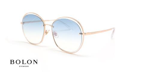 عینک آفتابی پروانه ای بولون - BOLON BL7086 -00 - طلایی - عکاسی وحدت - زاویه سه رخ