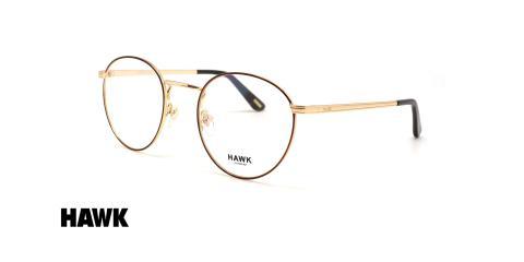 عینک طبی گرد فلزی هاوک - HAWK HW7373 - عکاسی وحدت - عکس زاویه سه رخ
