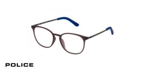 عینک بیضی طبی پلیس - POLICE VPL554 - رنگ فریم مشکی و آبی - اپتیک وحدت - عکس زاویه سه رخ