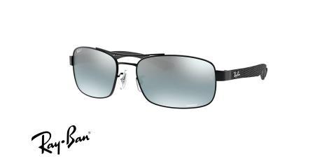 عینک آفتابی پلاریزه کرومانس مستطیلی فریم فلزی مشکی،عدسی دودی - عکس از زاویه سه رخ