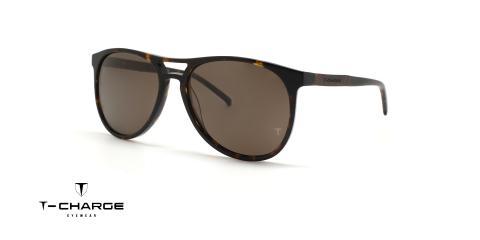 عینک آفتابی قهوه ای کائوچویی  تی شارژ - زاویه سه رخ