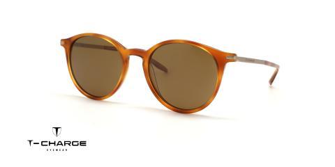 عینک آفتابی کائوچویی فلزی تی شارژ - رنگ قهوه ای هاوانا روشن - گرد - زاویه سه رخ