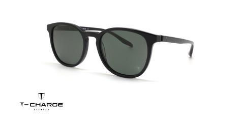عینک آفتابی کائوچویی مشکی رنگ تی شارژ عدسی سبز رنگ - زاویه سه رخ