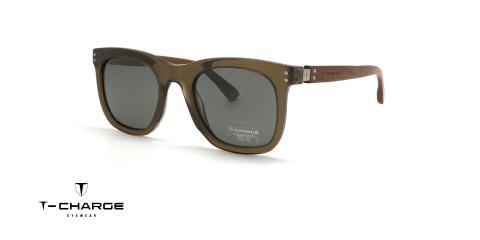 عینک آفتابی شبه ویفری تی شارژ دسته چوبی قهوه ای رنگ کائوچویی سبز رنگ - زاویه سه رخ