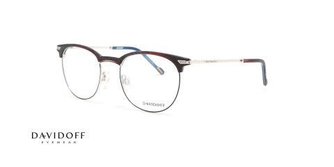 عینک طبی کلاب راند دیویدوف DAVIDOFF 92056 - قهوه ای طرح چوب - عکاسی وحدت - زاویه سه رخ
