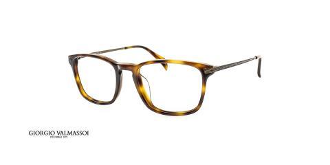 عینک طبی مستطیلی کائوچویی جورجیو والماسو فریم قهوه ای هاوانا - عکس از زاویه سه رخ