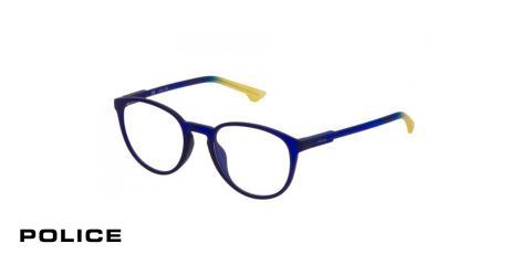 عینک طبی پلیس - POLICE VPL557 - رنگ فریم  آبی - اپتیک وحدت - عکس زاویه سه رخ