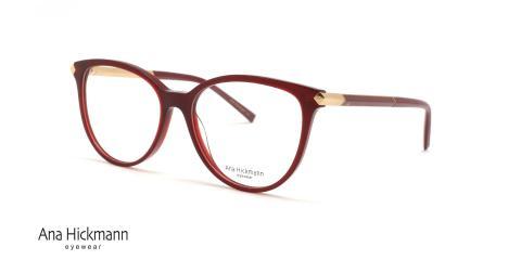 عینک طبی کائوچویی دسته دو رو قرمز رنگ آناهیکمن - عکاسی عینک وحدت - زاویه سه رخ
