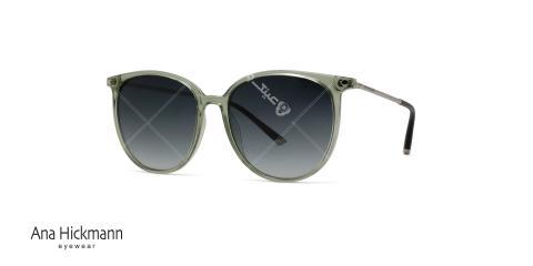 عینک آفتابی گرد بیضی شکل آناهیکمن - نقره ای سبز - عکاسی وحدت - زاویه سه رخ