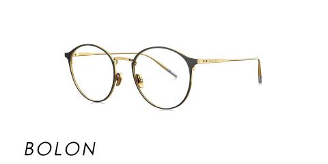 عینک طبی گرد بولون - BOLON BJ1335 - رنگ مشکی و طلایی - اپتیک وحدت - عکس از زاویه سه رخ