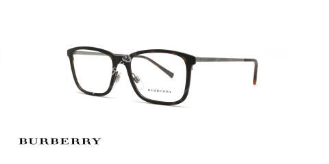 عینک طبی burberry مستطیل شکل دسته فلزی نوک مدادی حدقه کائوچویی قهوه ای هاوانا - عکاسی وحدت - زاویه سه رخ