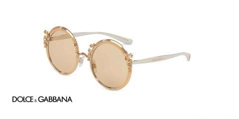 عینک آفتابی دولچه گابانا گرد رنگ طلایی - زاویه سه رخ