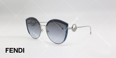 عینک آفتابی فندی طرح قطره آب - بدنه نقره ای - عدسی های دودی طیف دار - عکاسی وحدت - زاویه سه رخ