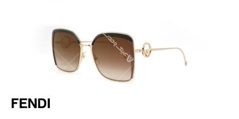 عینک آفتابی فلزی طلایی فندی - عدسی ها قهوه ای طیف دار - عکاسی وحدت - زاویه سه رخ