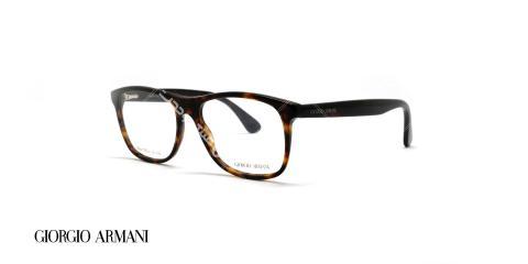 عینک طبی کائوچویی جورجیو ارمانی - رنگ بدنه قهوه ای هاوانا - عکاسی وحدت - زاویه سه رخ