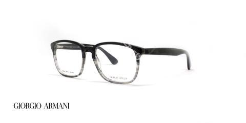 عینک طبی کائوچویی مستطیلی شکل جورجیو ارمانی - بدنه مشکی چند رنگ به سمت شیشه ای - عکاسی وحدت - زاویه سه رخ