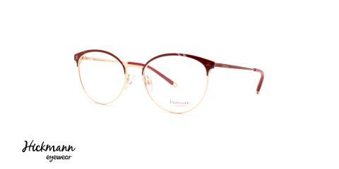 عینک طبی بیضی شکل هیکمن زیر مجموعه آناهیکمن - قرمز رنگ - عکاسی وحدت - زاویه سه رخ