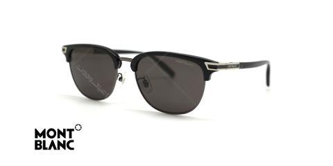 عینک آفتابی مون طرح کلاب مستر بدنه مشکی عدسی دودی - عکاسی عینک وحدت - زاویه سه رخ