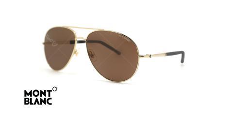 عینک آفتابی طلایی مون بلان - شیشه قهوه ای ساخت ژاپن - زاویه سه رخ