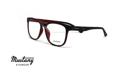 عینک طبی با رویه آفتابی موستانگ - MUSTANG MU6933- عکاسی وحدت-فریم مشکی قرمز - عکس زاویه سه رخ
