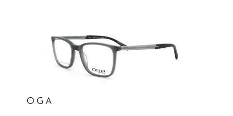 عینک طبی اگا - دسته چوبی طوسی رو به سبز - زاویه سه رخ
