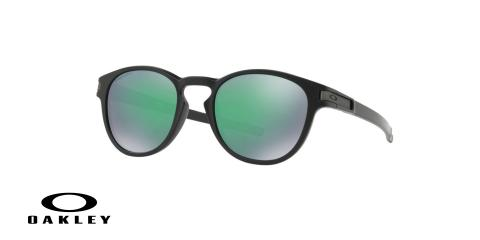 عینک آفتابی گرد اوکلی - با عدسی های پریزم از داخل دودی از بیرون جیوه ای بدنه مشکی - ویژه فروش آنلاین - زاویه سه رخ