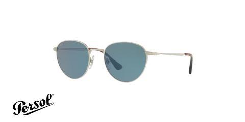 عینک آفتابی فلزی نقره ای با عدسی های آبی رنگ Persol - زاویه سه رخ