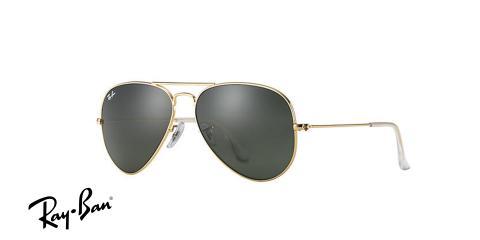 عینک آفتابی ری بن  RB3026- فریم طلایی و عدسی سبز -اپتیک وحدت - عکس از زاویه سه رخ