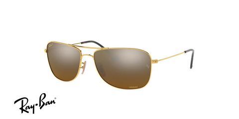 عینک آفتابی ری بن  RB3543- طلایی و عدسی سبز - اپتیک وحدت - عکس از زاویه سه رخ