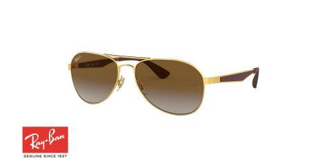 عینک آفتابی طرح خلبانی ری بن - دسته قهوه ای بدنه فلزی طلایی - عدسی قهوه ای طیف دار - زاویه سه رخ