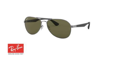 عینک آفتابی طرح خلبانی ری بن - دسته نوک مدادی - عدسی سبز - زاویه سه رخ