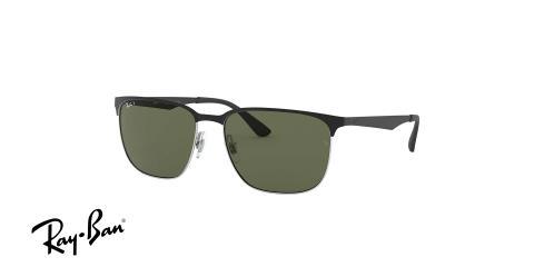 عینک آفتابی مستطیل شکل اصل ری بن - بدنه مشکی رنگ - عدسی سبز - زاویه سه رخ