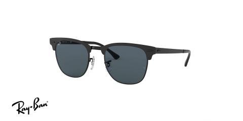 عینک آفتابی ریبن - کلاب مستر تمام فلزی - بدنه مشکی - عدسی آبی - زاویه سه رخ