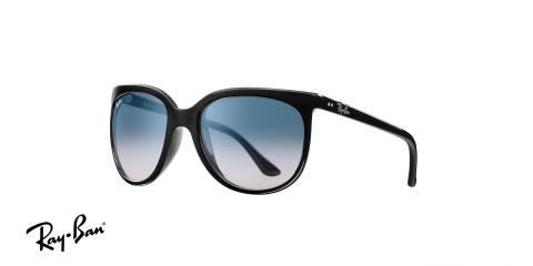 عینک آفتابی ریبن اصل - مدل گربه های 1000 - بدنه مشکی - عدسی آبی طیف دار - زاویه سه رخ