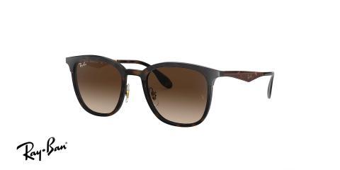عینک آفتابی ریبن شکل مربعی - بدنه قهوه ای هاوانا - عدسی قهوه ای سایه روشن - زاویه سه رخ