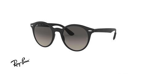 عینک آفتابی گرد Ray ban - بدنه liteforce - رنگ مشکی - عدسی خاکستری طیف دار - عکاسی وحدت - زاویه سه رخ