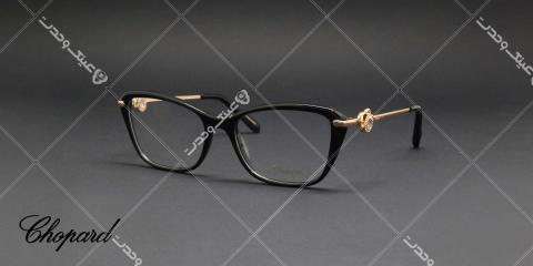 عینک طبی کائوچویی حدقه مشکی دسته طلایی Chopard - عکاسی وحدت - زاویه سه رخ