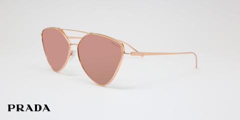 عینک آفتابی مثلثی بدنه نقره ای شیشه ها صورتی جیوه ای پرادا - عکاسی وحدت - زاویه سه رخ