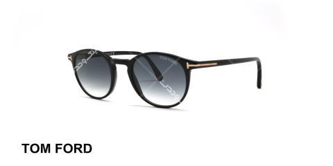 عینک آفتابی گرد تام فورد مشکی عدسی دودی طیف دار - عکاسی شده توسط عینک وحدت - زاویه سه رخ