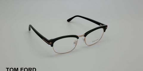 عینک طبی کلاب مستری تام فورد - مشکی طلایی - Tom Ford - عکاسی وحدت - زاویه سه رخ