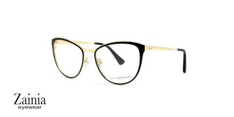 عینک طبی گربه ای مشکی طلایی زینیا - عکاسی وحدت - زاویه سه رخ