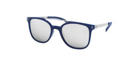 عینک آفتابی مربعی زینیا با بدنه فلزی کائوچویی و رنگ نقره ای سرمه ای عددسی آینه ای - عکاسی توسط عینک وحدت - زاویه ی راست به چپ